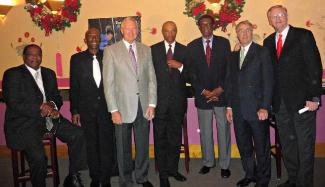 The living members of the 71-72 Lakers championship team plus Elgin Baylor and without Pat Riley