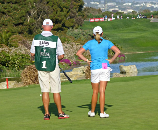 Lewis and her caddy hope to be a winning team again at the KNC