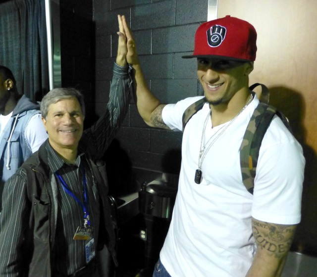 with Colin Kaepernick at Clippers-Detroit game