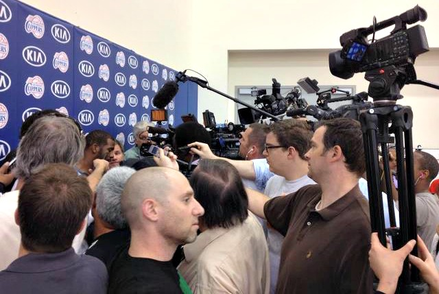 Interviewing CP3 in one of the most media crowded Clippers practices I can recall (photo courtesy Arash Markazi-ESPN LA)