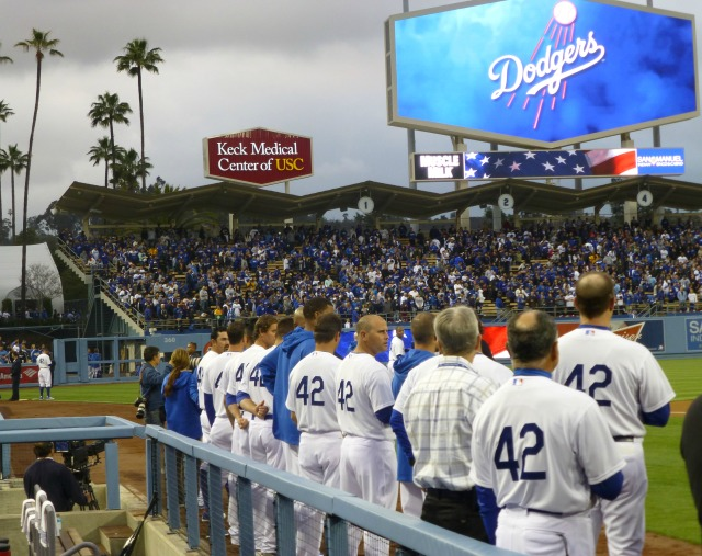 42's in the Dodger dugout during the national anthem