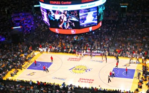 Laker fans waving their free white towels