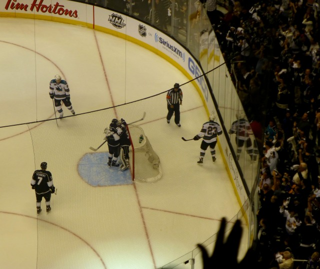 The Kings celebrate game 2 win over Sharks