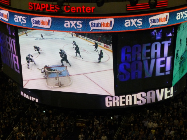 Jonathan Quick makes his best stop of the night to preserve the shutout in the final seconds