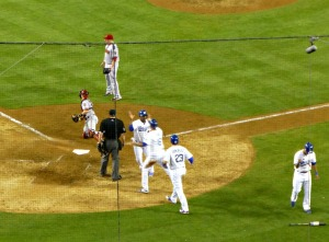 Uribe, Gonzalez, and Ethier celebrate after a rare Dodger bases loaded hit