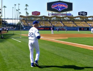 Koufax during batting practice ready to shag some balls