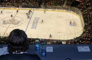 Another game with Mike Richards watching from the press box