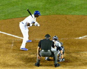 Puig strikes out looking at a very low pitch in the 9th inning