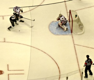Tyler Toffoli personifies the Kings frustrations by fanning on this great scoring chance.