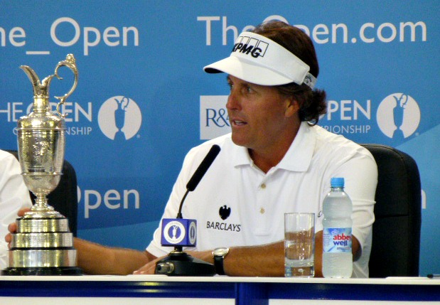 I reminded Phil that he never let go of that Claret Jug during the entire championship newser
