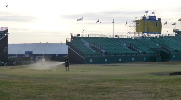 The 18th green being watered for a very big Sunday!