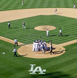 Homeplate celebration for Puig