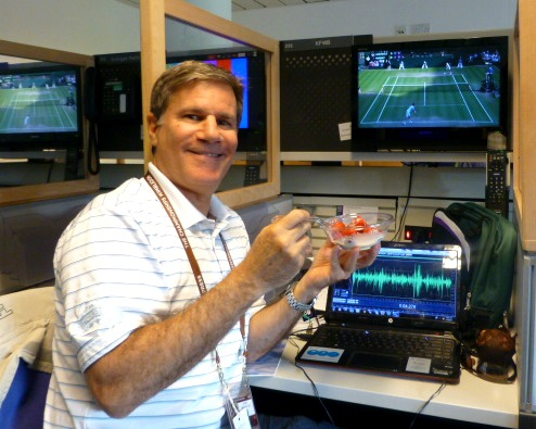 Sitting at my desk watching the best tennis tournament in the world with the traditional strawberries and cream!