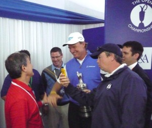 Congratulating Ernie last year at Royal Lytham