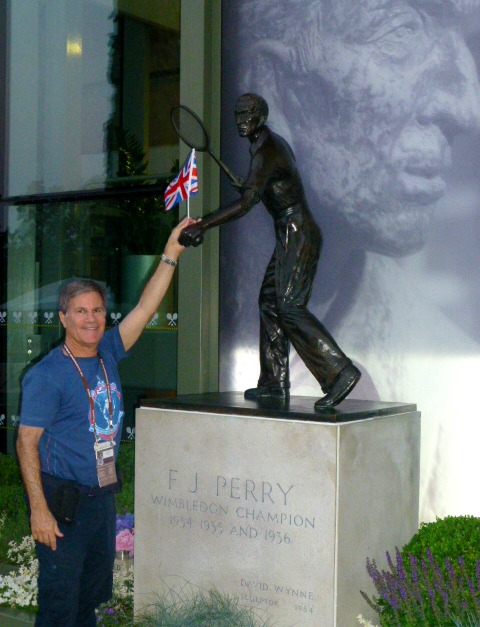 With Fred Perry who's finally able to relax at Wimbledon