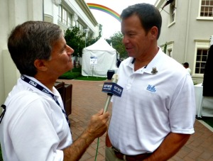 Shooting the bull with Coach Mora