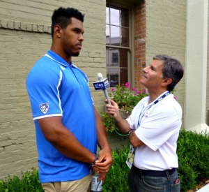 Towering under Anthony Barr