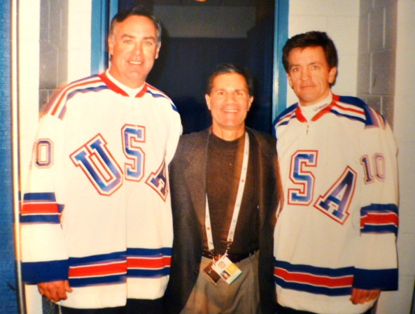 With Jim Craig and Mark Johnson at the 25th anniversary of the 'Miracle on Ice'