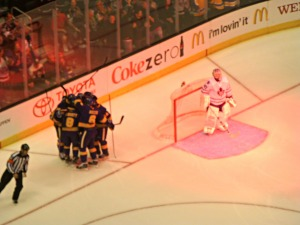 The Kings celebrate the first their newest teammate Marion Gaborik's first goal in L.A. vs. ex-King Jonathan Bernier