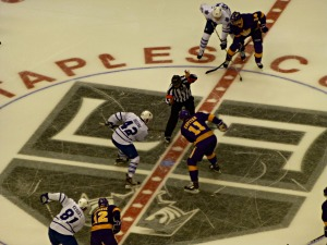 The opening faceoff vs. the Leafs