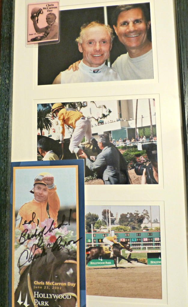 My personal collage with Chris McCarron winning his final ride at Hollypark