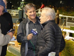 with HP's all-time winning Stakes trainer Jerry Hollendorfer (my last winner's circle interview)