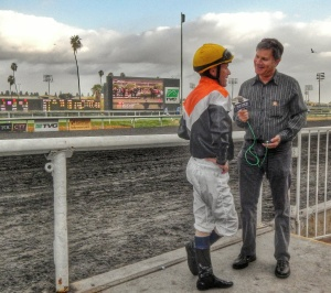 Chatting with Hall of Fame jockey Gary Stevens for the final time at the finish line.