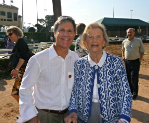 With Penny Chenery (Secretariat's owner) in Hollywood's saddling area