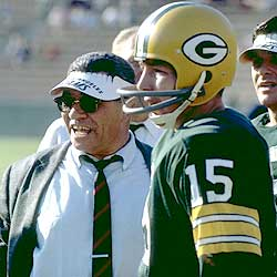 Starr with Lombardi who borrowed an L.A. Rams visor to use in Super Bowl I