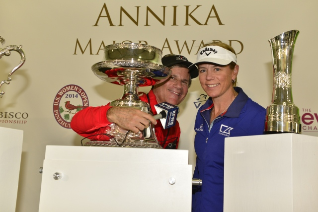 Chatting with Annika at her newsconference  (photo by Paul Lester)
